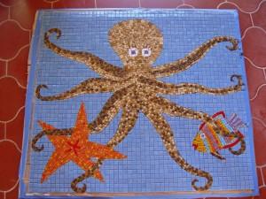 панно: мозаика для бассейна осьминог